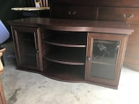 black wooden TV stand with cabinet Cupertino, 95014