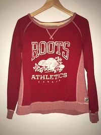 red and white Roots Canada scoop-neck sweatshirt Montréal, H4V 1K4