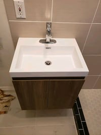 wall mount sink with cabinet