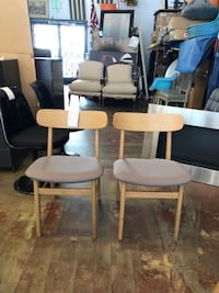 Set of 2 Ecole Dining Chair, Thunder Gray Seat, Oak Base Los Angeles