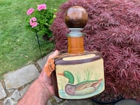 Beautiful Wildfowl Themed Leather Wrapped Decanter Bottle, ITALY $15
