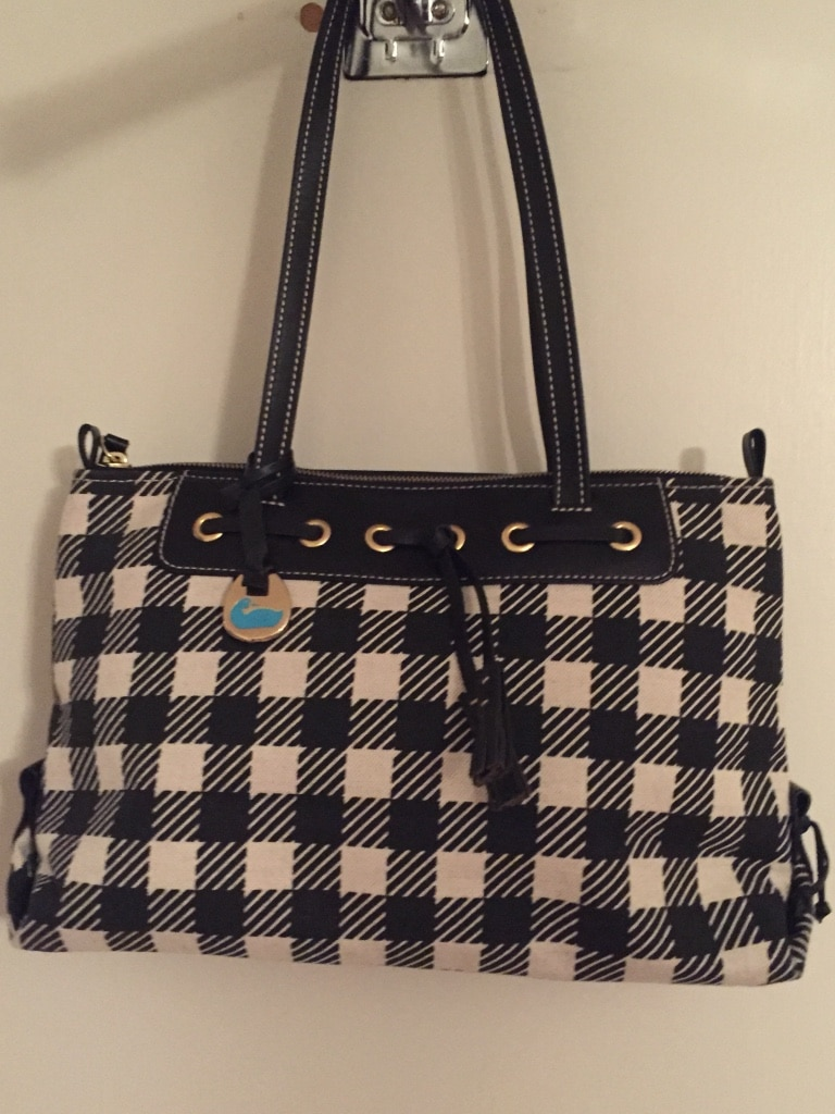 Photo Dooney and bourke black and white plaid buffalo check handbag purse tassel brand new no tag