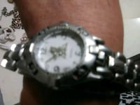 round silver-colored chronograph watch with link bracelet 2289 mi