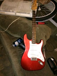 red and white stratocaster electric guitar Denver, 80219