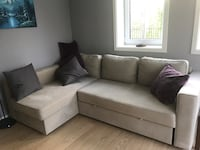 Lovely comfy pull out sofa. The two sections are not attached to each other but we have the parts to do it :).  New price!! Blommenholm, 1365