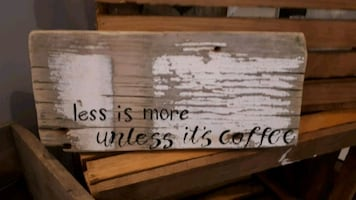 Salvaged wood coffee sign