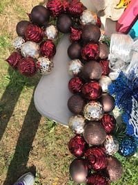 brown, red, and grey baubles