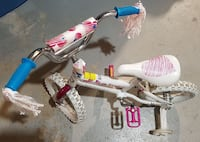 white and pink bicycle with training wheels Toronto