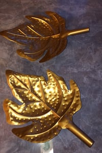 Two maple gold leaves large decor