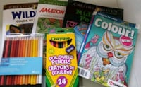 4 coloring books and pencil crayons Mississauga, L5N 2T3