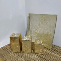 4 piece gold candle stand and plate set  Toronto, M2J 2C2