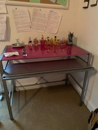 Pink glass desk with chair