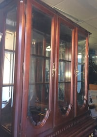 brown wooden clear glass china cabinet Toronto, M1E 2L5