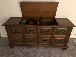 Vintage dresser with radio and record player