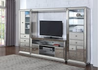 Jameson 4-Piece Entertainment Center, Silver Antique Mirrored Finish ** Free Delivery**  Las Vegas