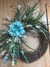 """18"""" Grapevine Wreath with Blue Dahlia Collegedale, 37363"""