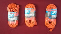 three orange coated USB cables