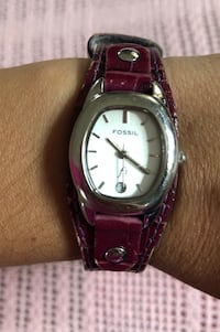 round silver analog watch with purple leather strap Washington, 20024