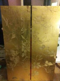 2 Etched wood & Gold leaf wall hangings  Radcliff, 40160