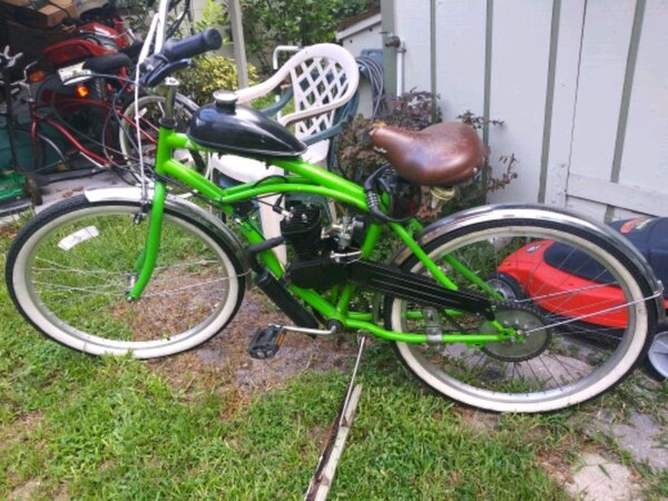 green and black motorized bicycle