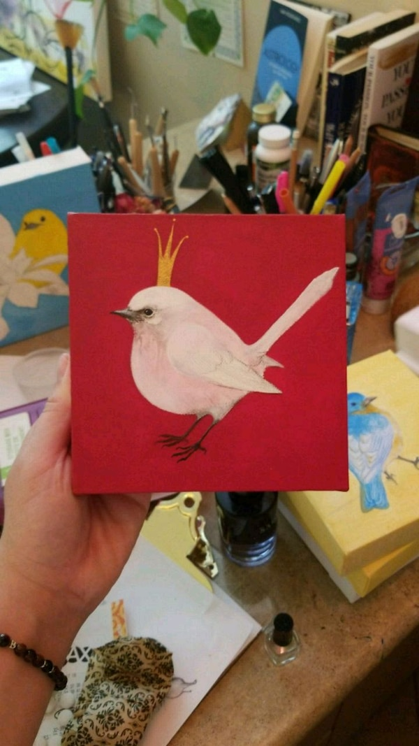 red and white bird painting