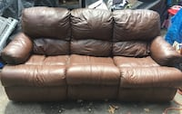 Brown leather couch double reclining Derry, 03038