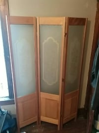 Wood and glass room divider $40