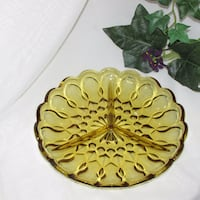 Anchor Hocking Fairfield Gold Glass Divided Dish Mississauga