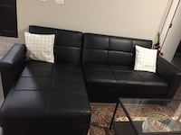 Leather sofa bed and sofa (black)
