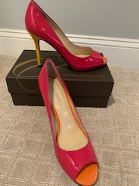 Enzo Angiolini Red, Orange, and Yellow Peep Toe Heels, Size 8-1/2 Cinnaminson, 08077