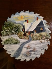 Winter decor Hand painted saw blade