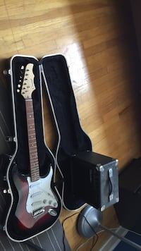 black and white electric guitar with case Cedar Grove, 07009