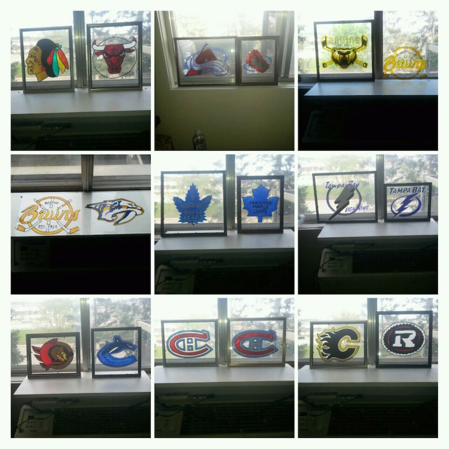 Sports stained glass art