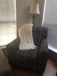 brown and black fabric sofa chair