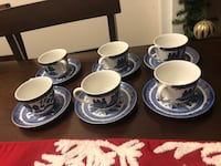 Set of 6 Blue Willow Teacups & Saucers Aurora, L4G 2T7
