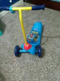 children's blue and yellow Paw Patrol themed kick scooter Alvin, 77511