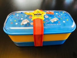 Cute 2 Tier Japanese style Lunch box with Utensil Storage