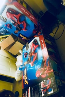2 unopened Spider-Man 6v super cars .. available at Walmart for 150 each and online never opened for ages 3 and up