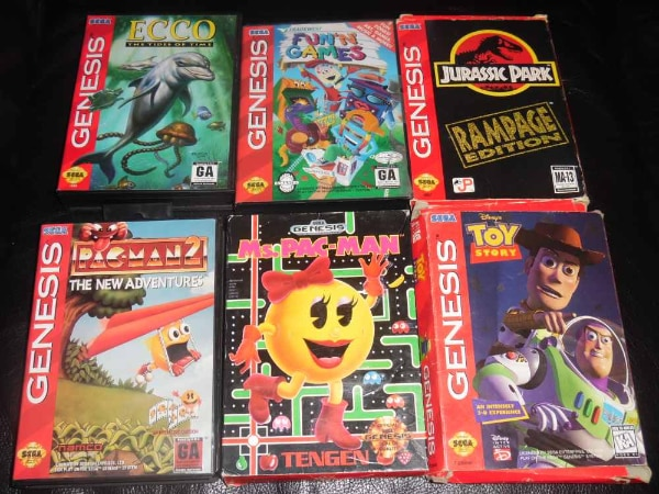Used Sega Genesis games in original boxes prices vary for