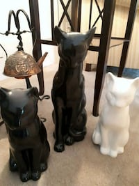 3 cat ceramic statues