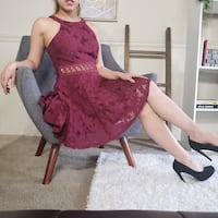 Maroon Floral Lace Holiday Dress from Papaya Hyattsville, 20783