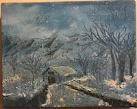 8 x 10  snow-covered barn and trees oil painting  Hendersonville, 37075