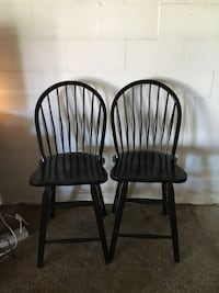 Two black wooden windsor bar stools  Hagerstown