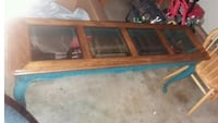 rectangular brown wooden framed glass top coffee table Oklahoma City
