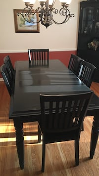 rectangular black wooden dining table set with six chairs Louisville, 40241