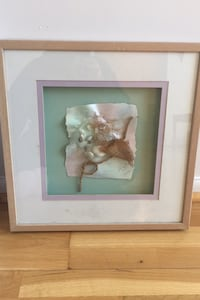 Beachy, pastel collage in square frame