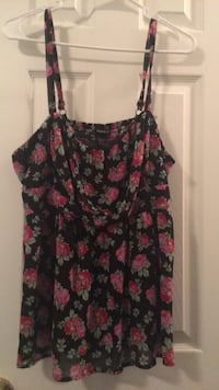 black and red floral spaghetti strap top Waverly Hall, 31831