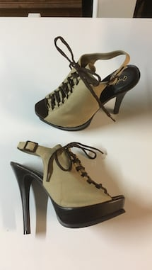 Canvas lace up peep toe high heel size 8.5
