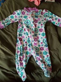 toddler's purple, blue, and white floral footie pajama