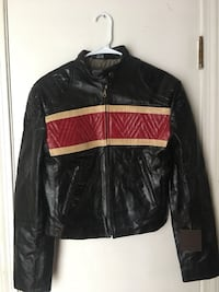 black and red leather zip-up jacket Avon, 06001